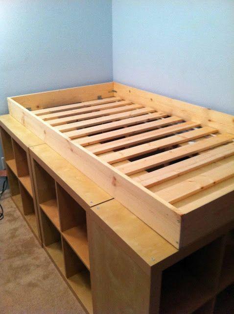 Expedit Storage Bed Lit Rangement Lit Avec Rangement Integre Et Rangement En Dessous Du Lit