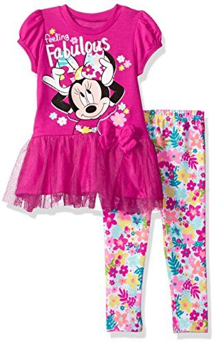 afe71696a0f00 Disney Toddler Girls' Minnie Mouse Legging Set with Tulle Fashion Top,  Pink, 4T