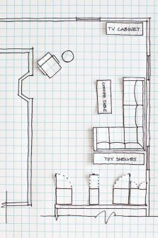 Room Layout Drawing On Graph Paper To Rearrange A
