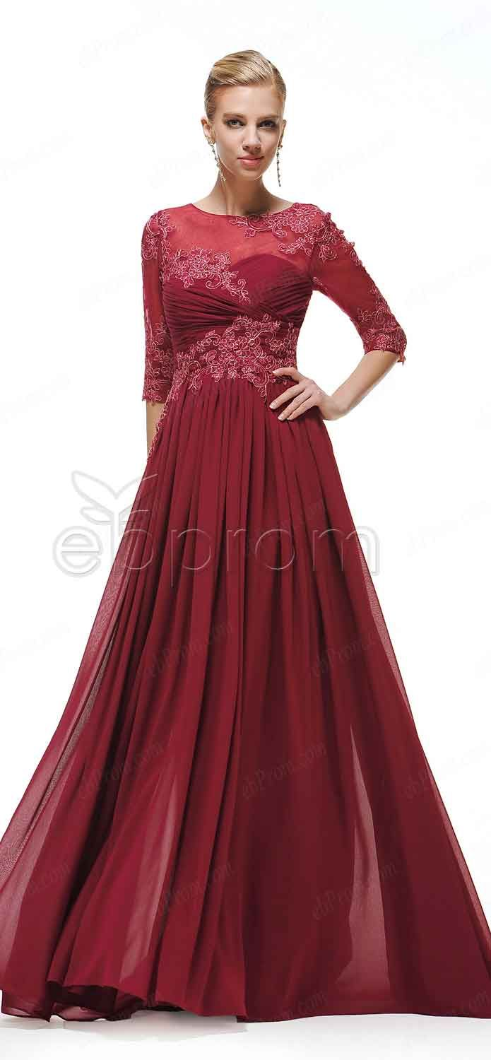 Modest burgundy prom dresses long sleeves modest bridesmaid modest burgundy long prom dresses three quarter sleeves evening dresses mother of the bride ombrellifo Choice Image