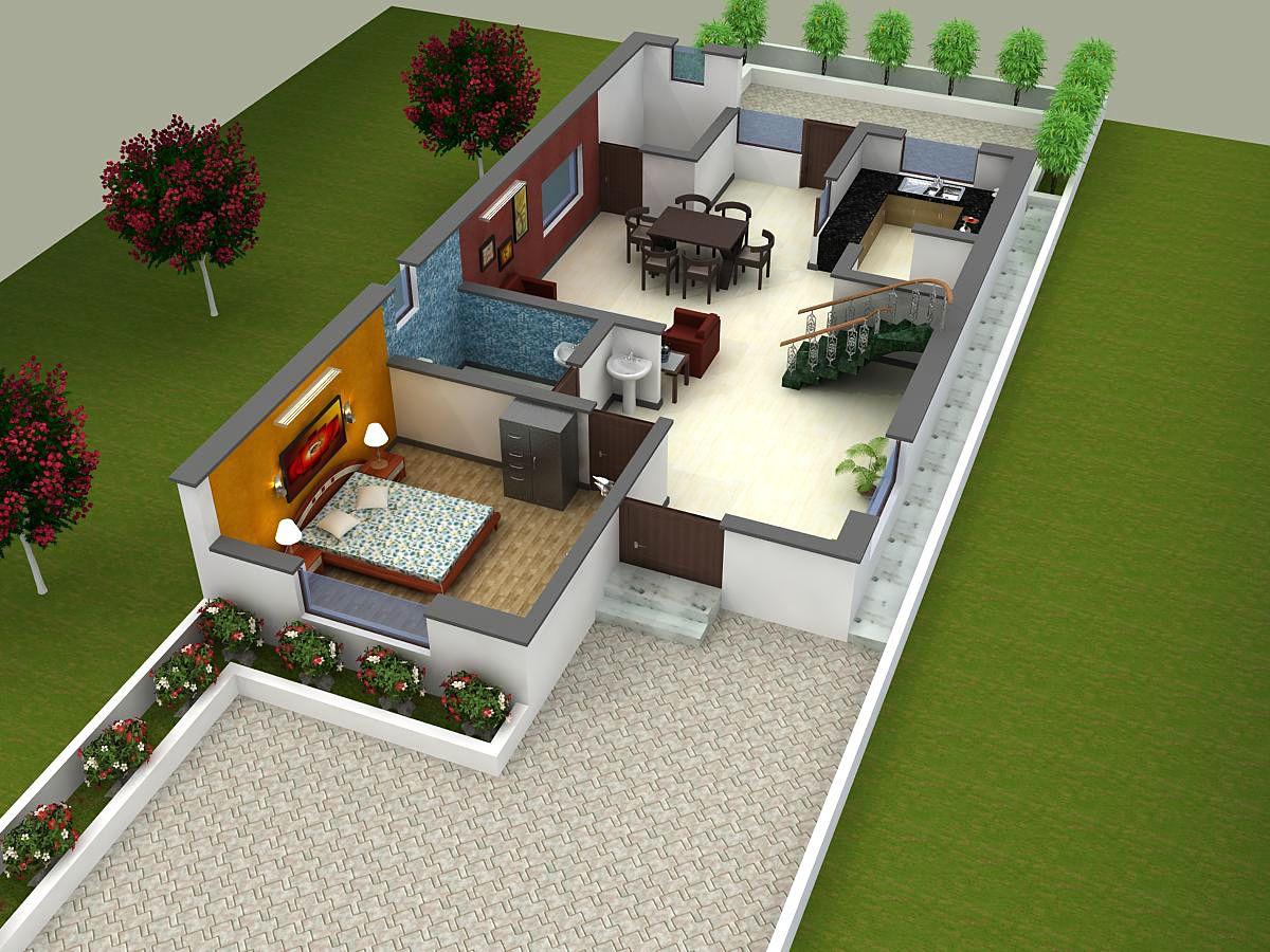 Floor plan for modern simplex 1 floor
