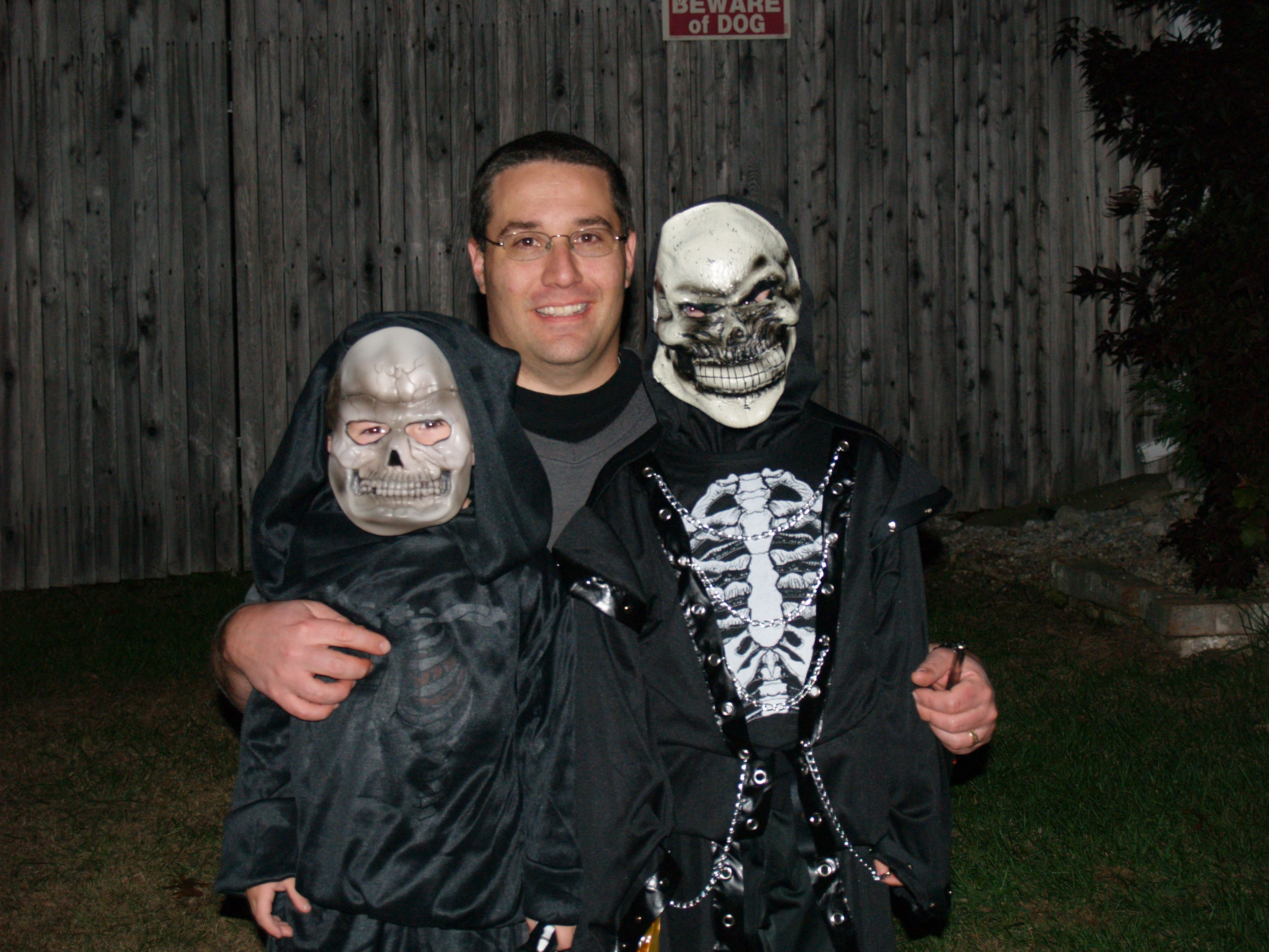 me and the boys getting ready for a good night of scaring people