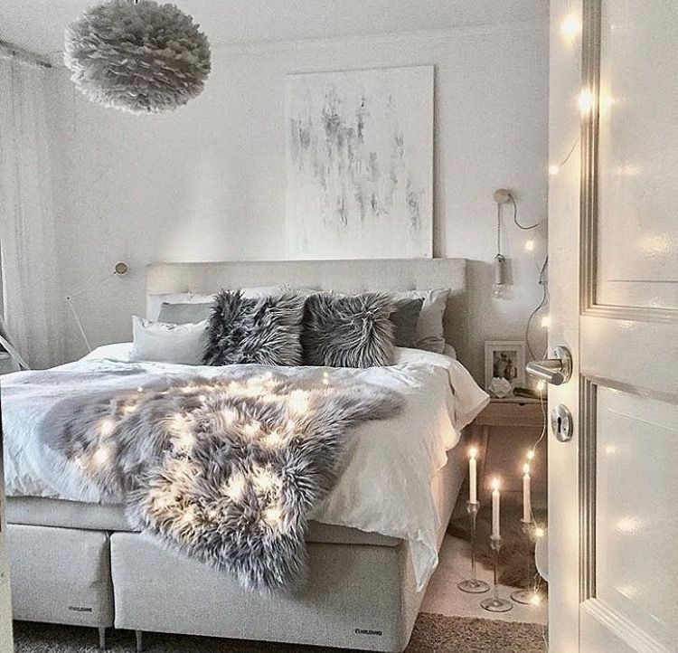 Modern white and grey bedroom   Bedroom decor, Feminine ...