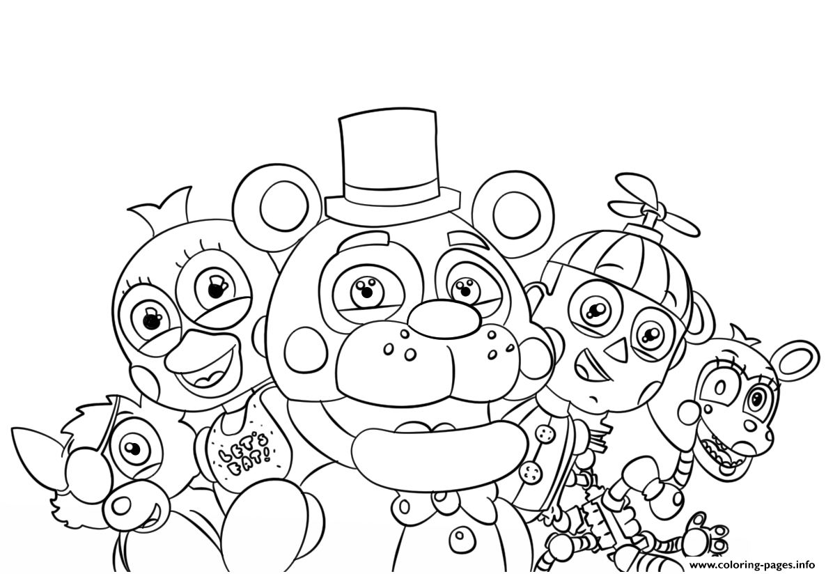 Print Five Nights At Freddys All Characters Coloring Pages