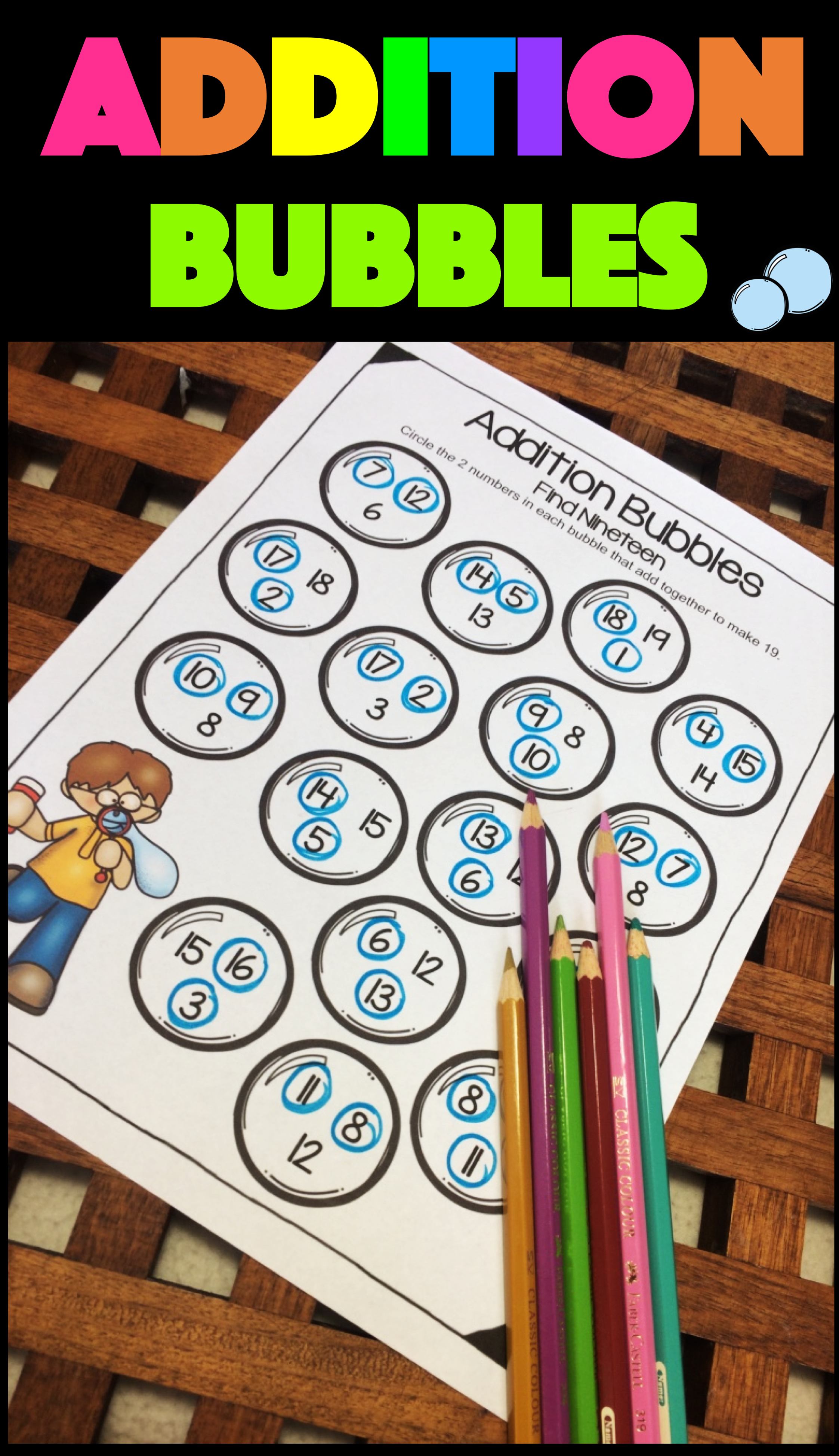Addition Bubbles No Prep Addition Worksheets For Addition To 20 A Fun And Easy Way To Teach And Revis Addition Worksheets Bubble Activities Math Fact Fluency [ 3895 x 2245 Pixel ]