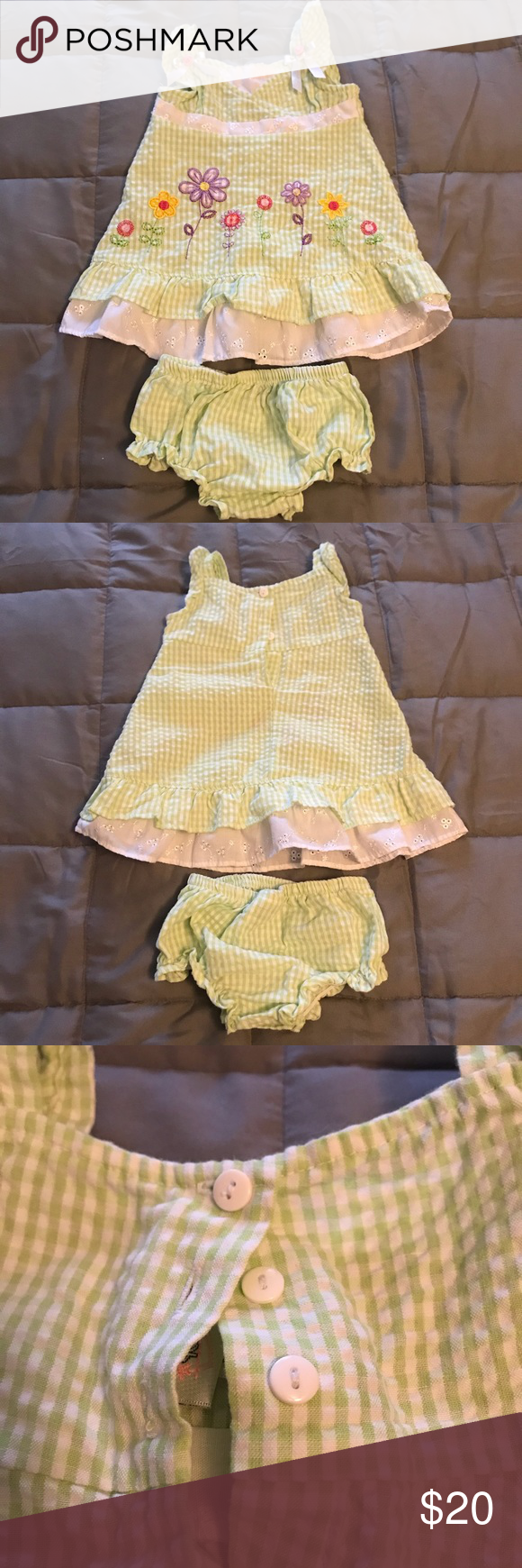 Youngland infant dress w/ matching diaper cover Youngland infant girls dress with matching diaper cover. Green and white with floral pattern. Great for an Easter dress. Size 6-9 months. Buttons in the back. Smoke free home. Youngland Dresses