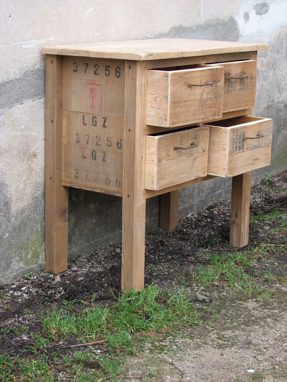Meuble En Sapin Brut meuble de métier en sapin brut. poignées anciennes en fer