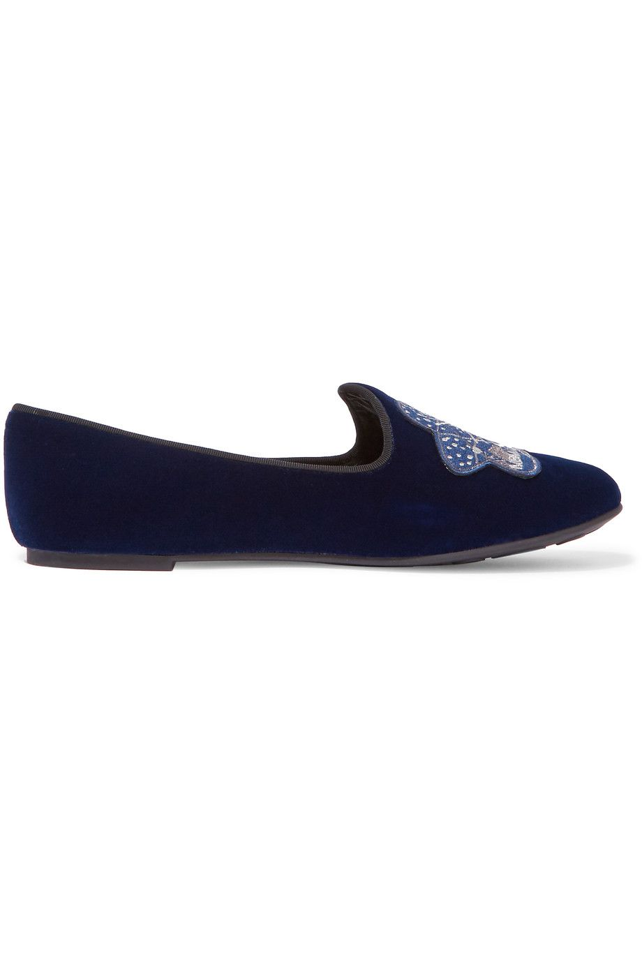 MARC BY MARC JACOBS Appliquéd Velvet Slippers. #marcbymarcjacobs #shoes #flats