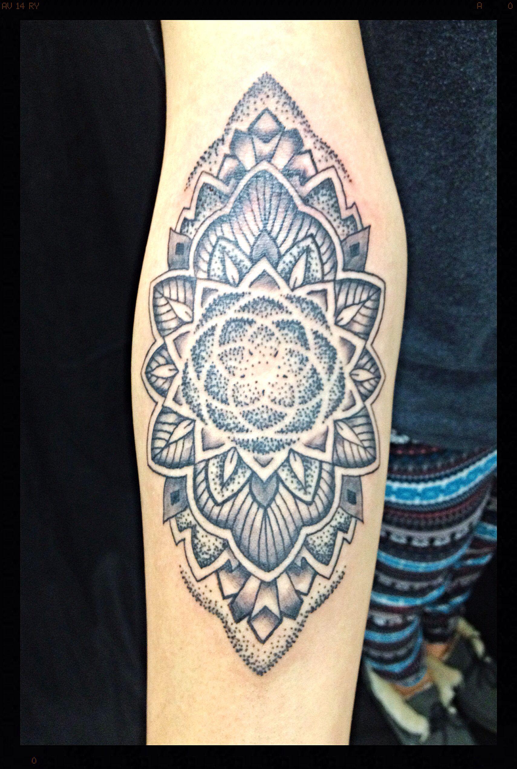 Inner Elbow Mandala Tattoo: Black And Grey Dotwork Inner Elbow Mandala With Venus
