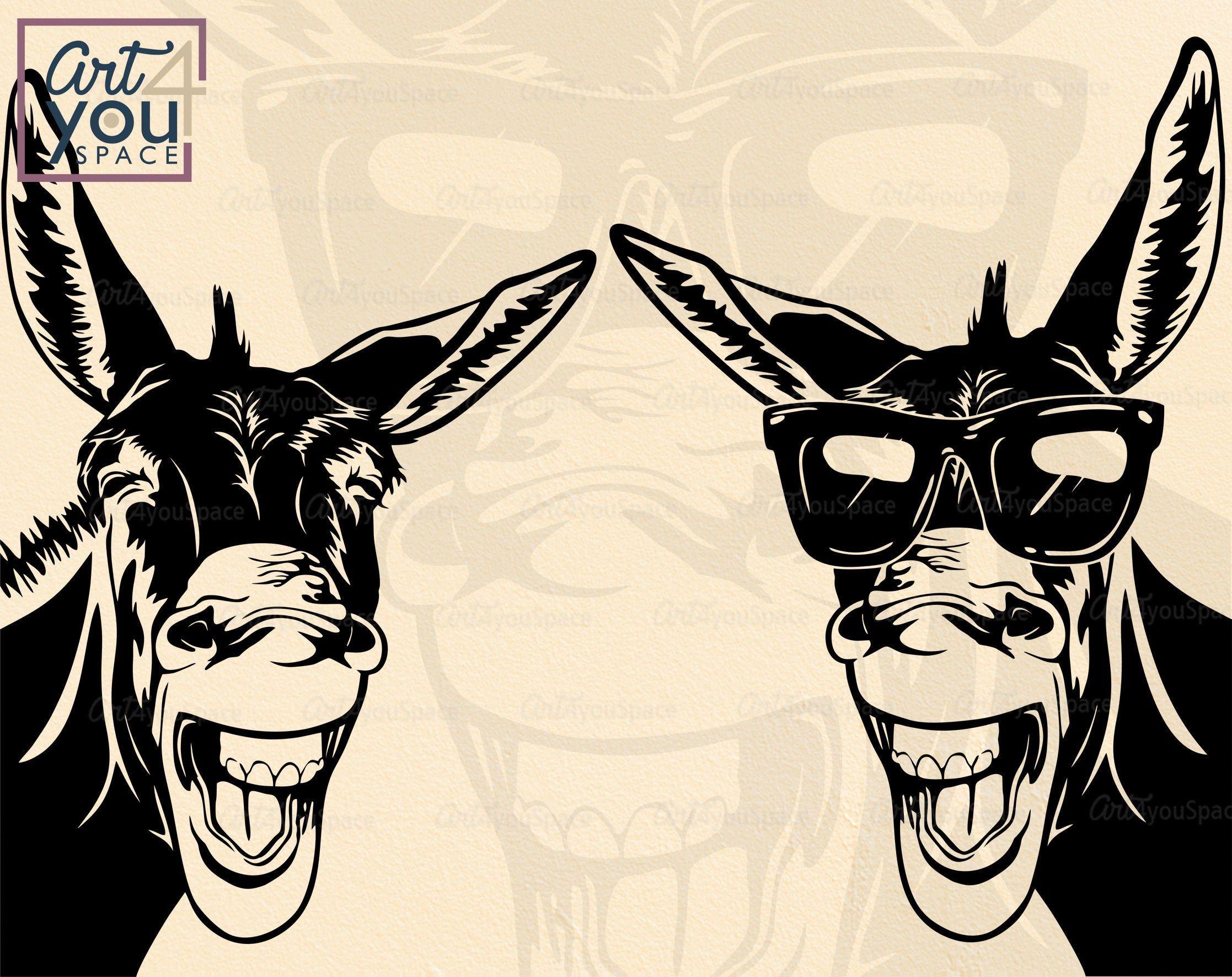 Donkey Svg Cricut Funny Animal Glasses Farm Head Peeking Etsy In 2021 Animal Clipart Donkey Drawing Donkey Images
