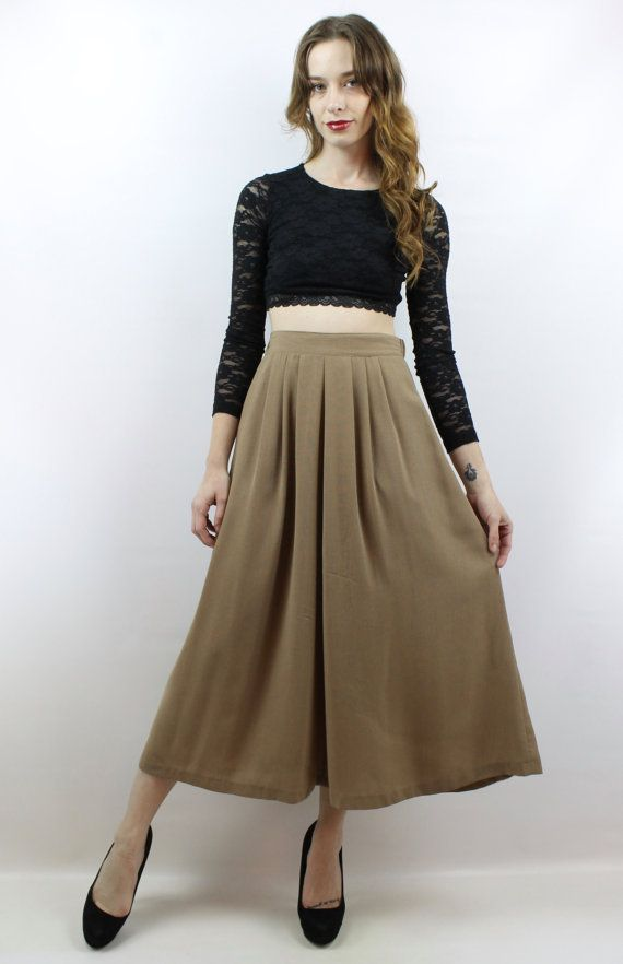 938fb62bf49b Vintage 90s High Waisted Taupe Midi Maxi Skirt, fits S/M by shopEBV on etsy