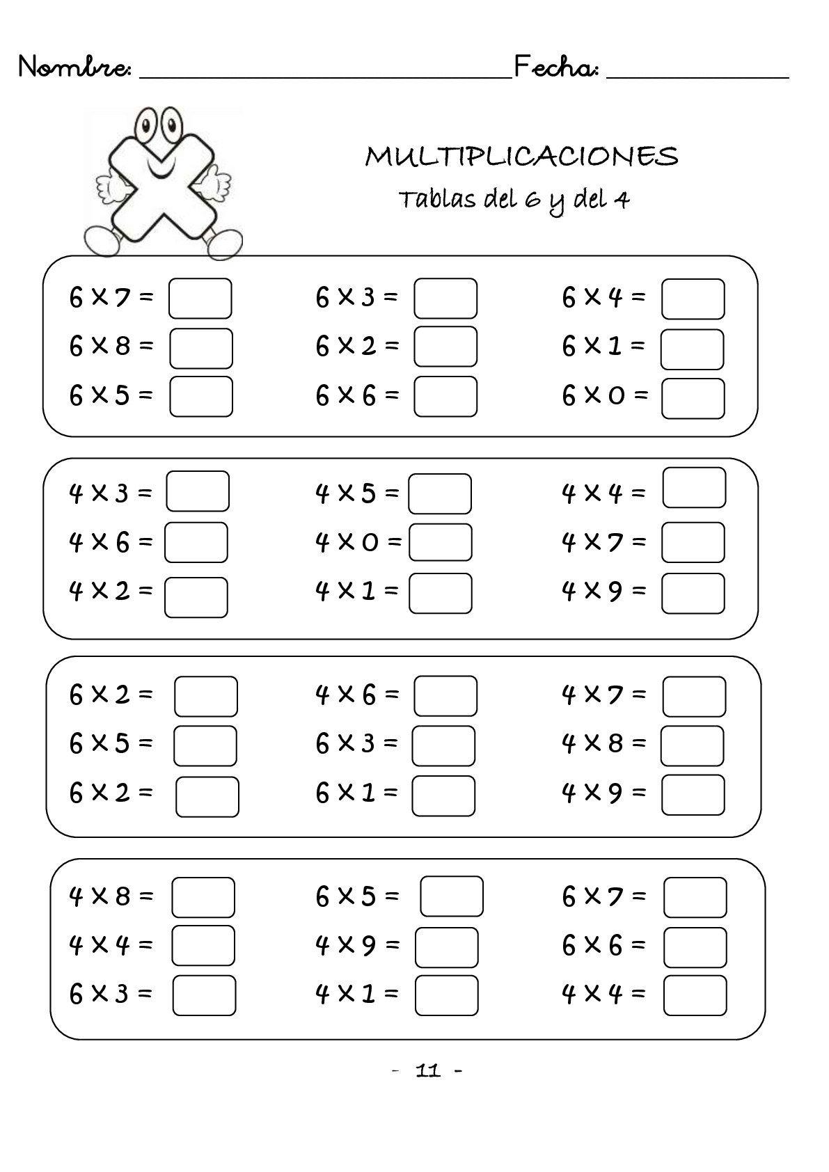 Multiplicaciones Rapidas Una Cifra Protegido 012 Multiplicacion Actividades De Multiplicación Hojas De Cálculo