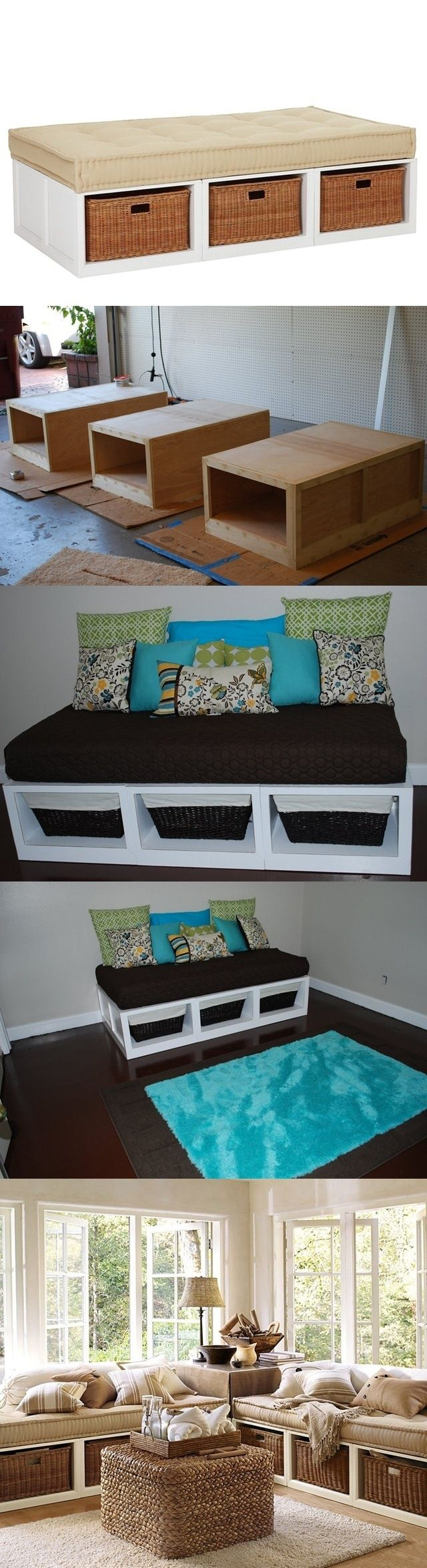 Como fazer um sofá. Olhando revistas casa interiores e catálogos de móveis, vê o sofá para a sala de estar, que é um quadro com colchão. É muito prático, é lindo, mas é caro. Pode fazer o seu próprio! É bastante simples. A base do sofá - uma armação de duas guias e algumas cruzes. Se olhar melhor, são caixas unidas. Você precisa de madeira (largura mínima 12 mm). Desenhe o futuro sofá, e por sua própria escala fazer três caixas de compensado. Pintá-las. Fixá-las juntas, colocar um colchão.