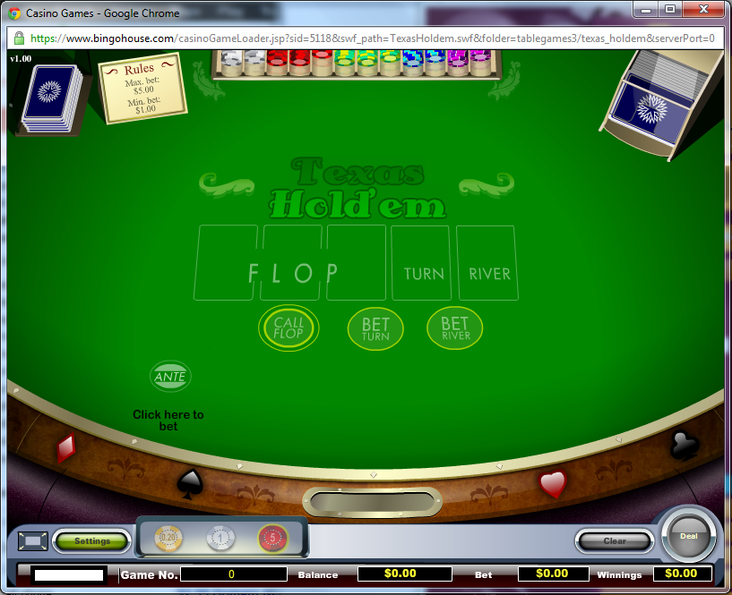 Play Texas Hold'em RIGHT NOW on BingoHouse for real money