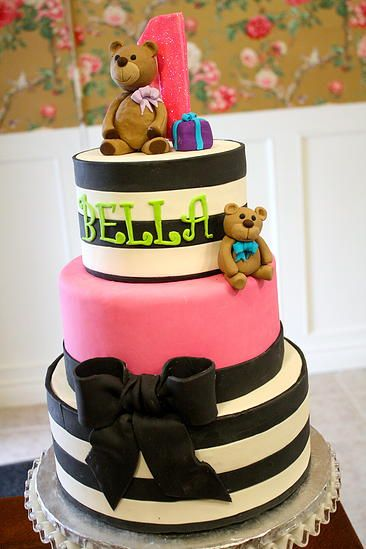 Modern First Birthday Cake Teddy Bear pink black and white striped