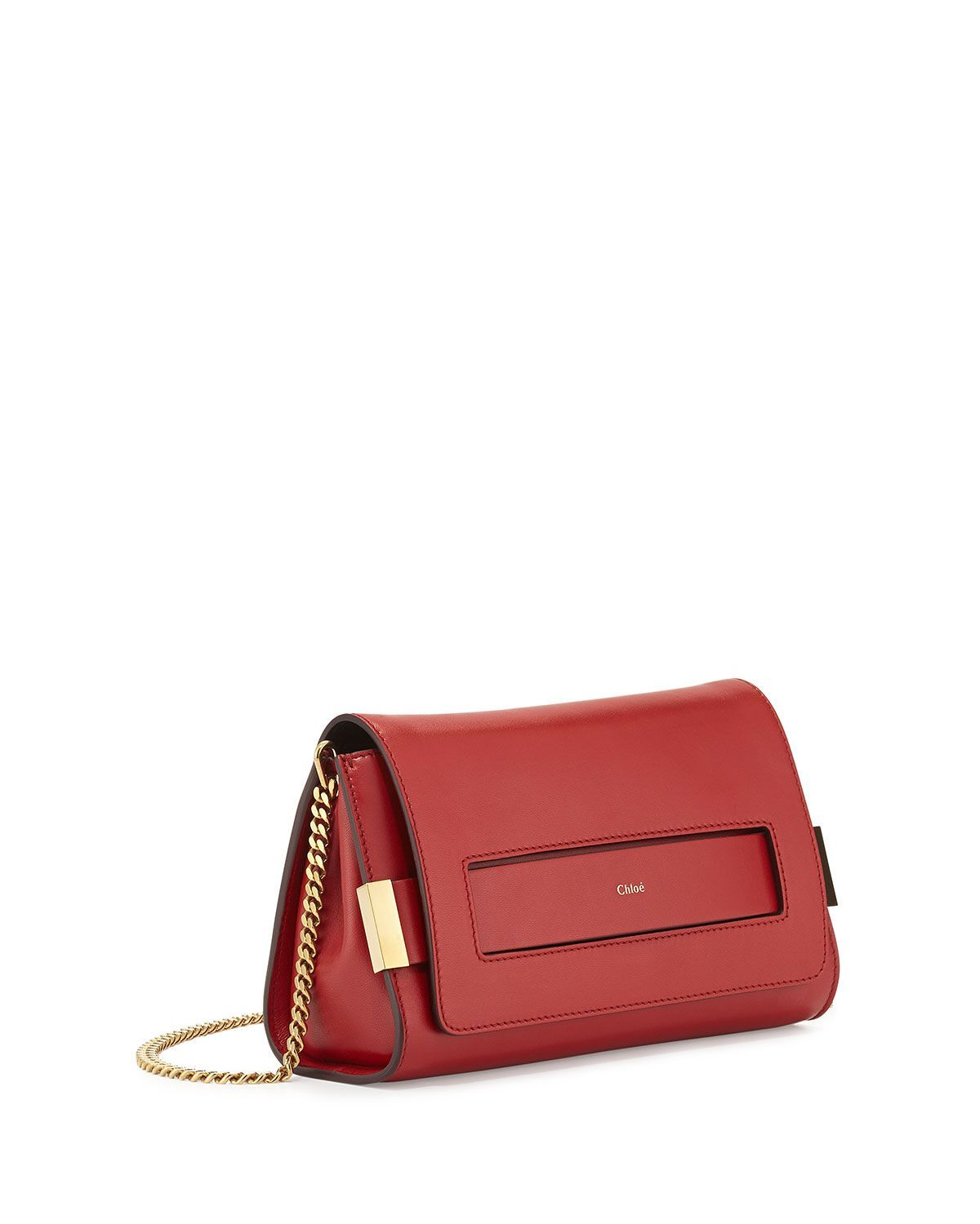 Chloe Elle Clutch Bag With Shoulder Strap Red