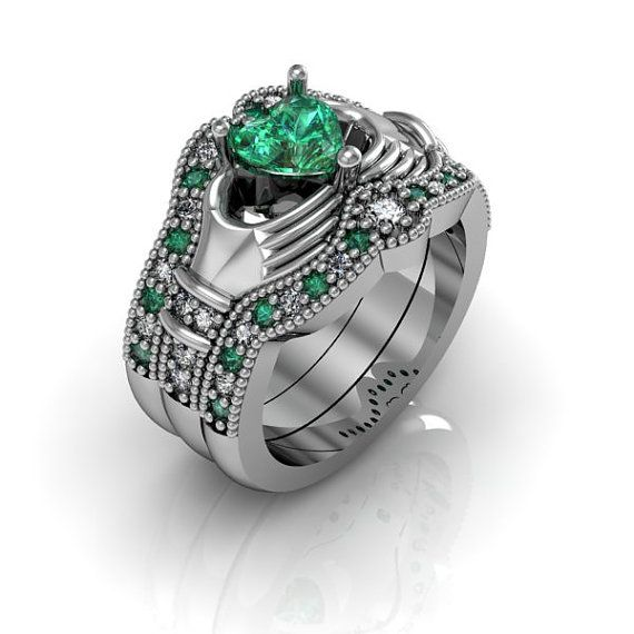 claddagh wedding ring sterling silver emerald cz love and friendship engagement ring trio set - Claddagh Wedding Ring Set