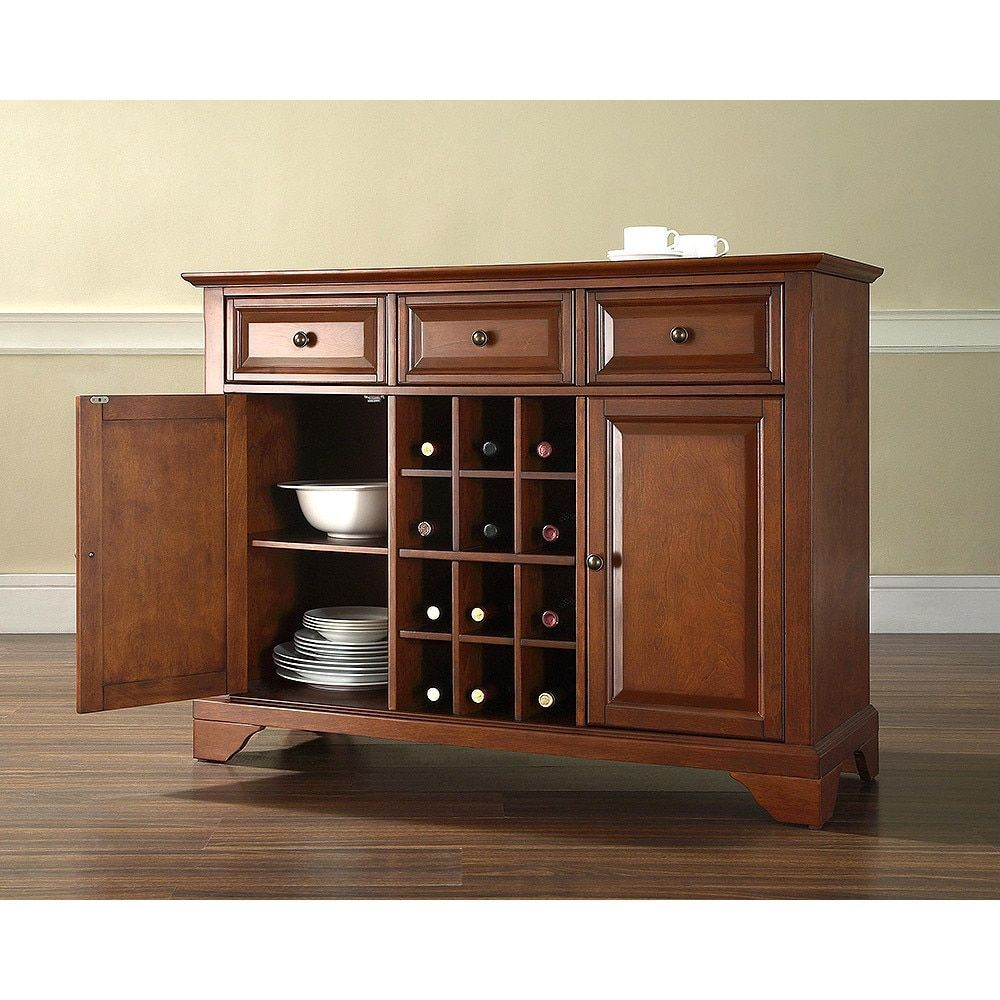 Crosley Furniture Lafayette Buffet Server Sideboard Cabinet With Wine Storage In Clic Cherry Finish