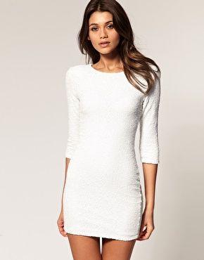 White dress long sleeve | Kizzang | Pinterest | White sequin dress ...