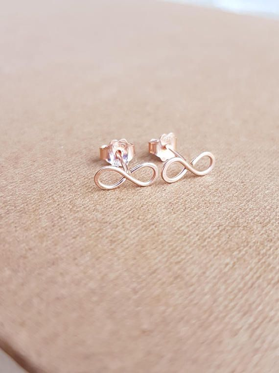 22k Rose Gold Infinity Earrings Tiny Stud Etsy Handmade Gifts