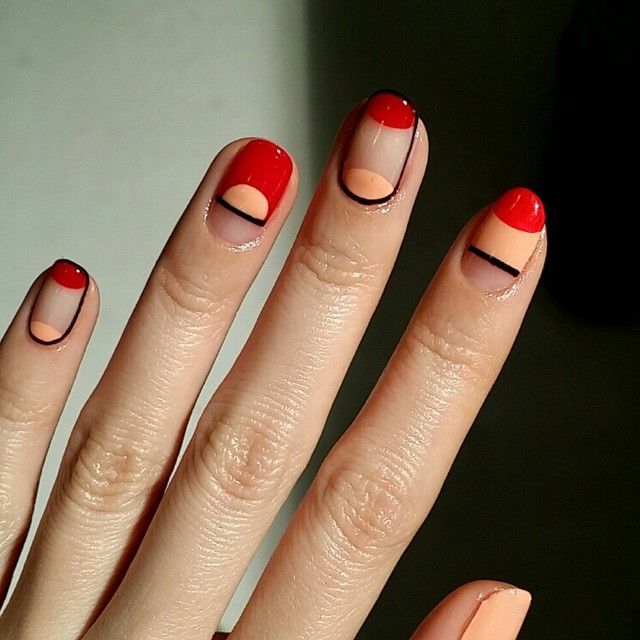 Red, Orange and Negative Space Nails | Geometric Nail art | Nail ...