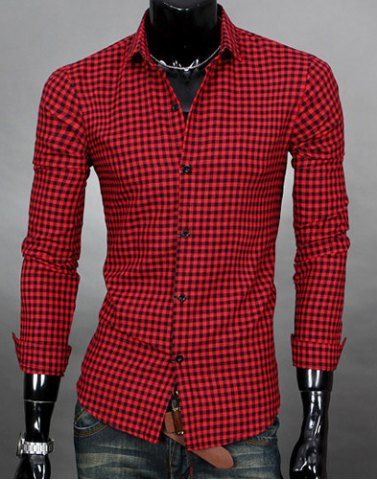 Simple Shirt Collar Color Block Plaid Print Long Sleeves Men's Slimming ShirtShirts | RoseGal.com