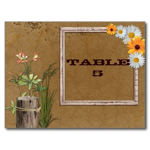 Rustic Country TableSeating Card with Daisies Post Card