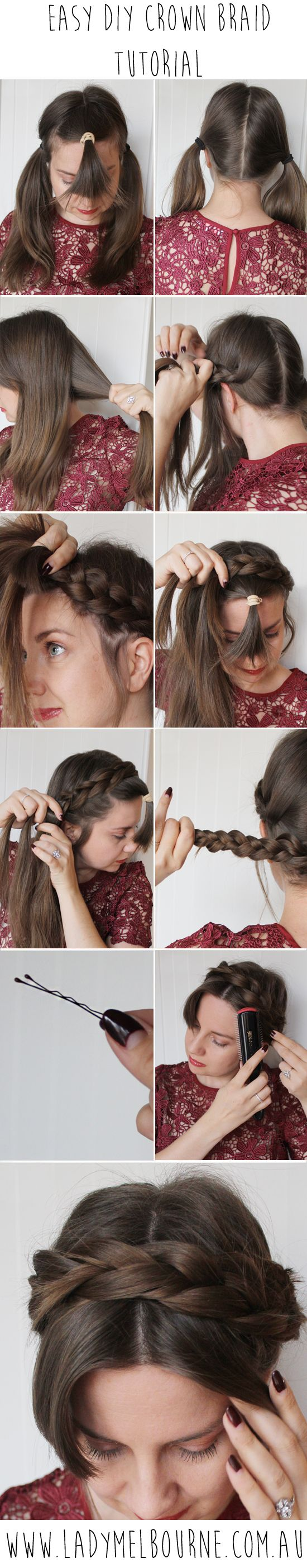 Easy diy crown braid tutorial crown braid tutorials crown braids