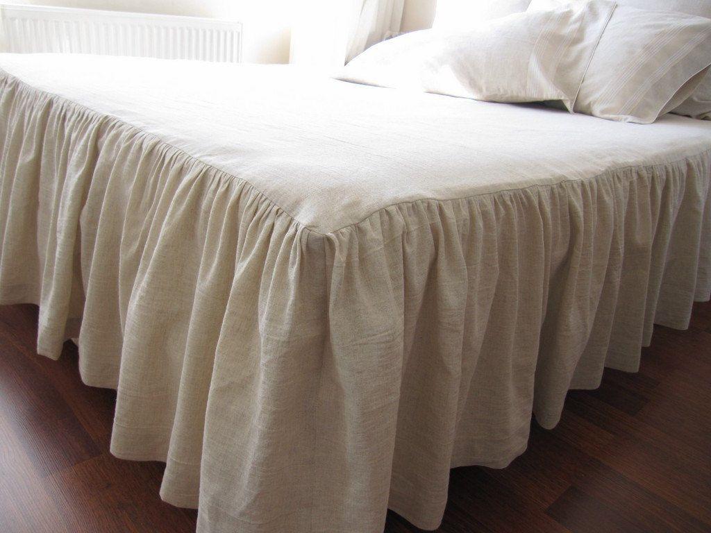 Oatmeal Linen King Dust Ruffle 28 Inch Drop Bed By Nurdanceyiz Bed Spreads Coverlet Bedding Bedskirt