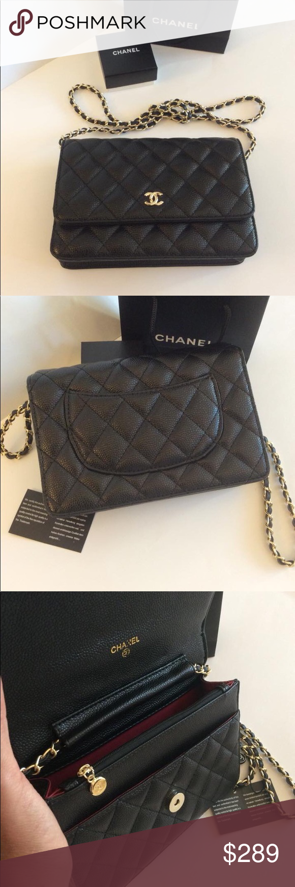e0a8b01c44e335 New 🎀 Chanel VIP Gift WOC Black Caviar Skin Bag Brand new. Faux leather.
