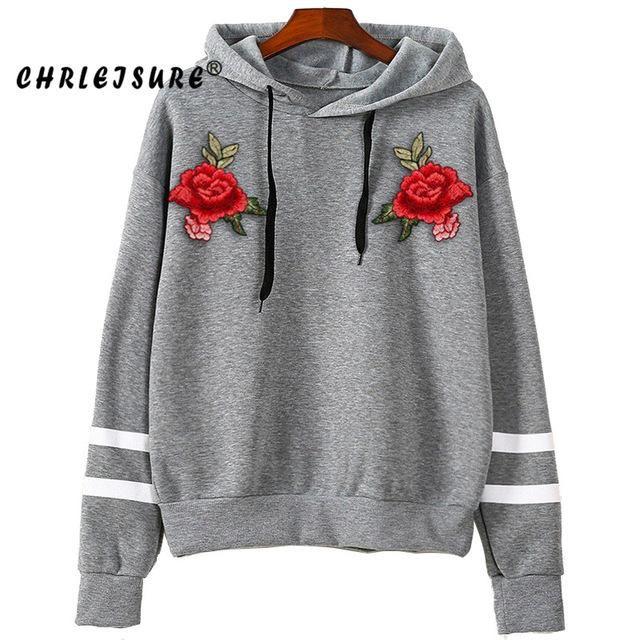 Rose Embroidered Loose Hoodie