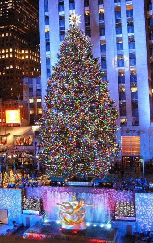 Christmas In New York City Rockyfeller Center Biggest Tree Ever New York Noel Illuminations De Noel Noel Dans Le Monde