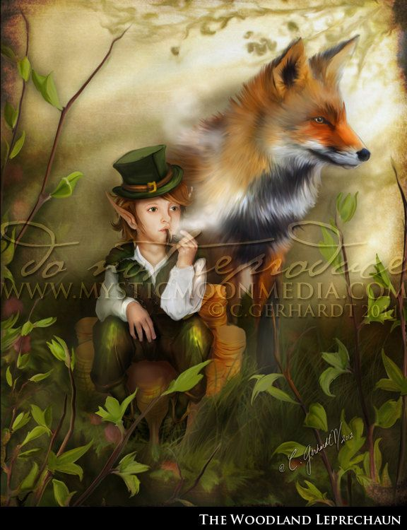 The Woodland Leprechaun5x7 Matted Print Cute Little Boy Leprechaun And Fox Fantasy Art 1500 Via Etsy