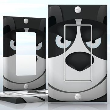 DIY Do It Yourself Home Decor - Easy to apply wall plate wraps | Evil Panda Smiling panda face wallplate skin sticker for 1 Gang Decora LightSwitch | On SALE now only $3.95