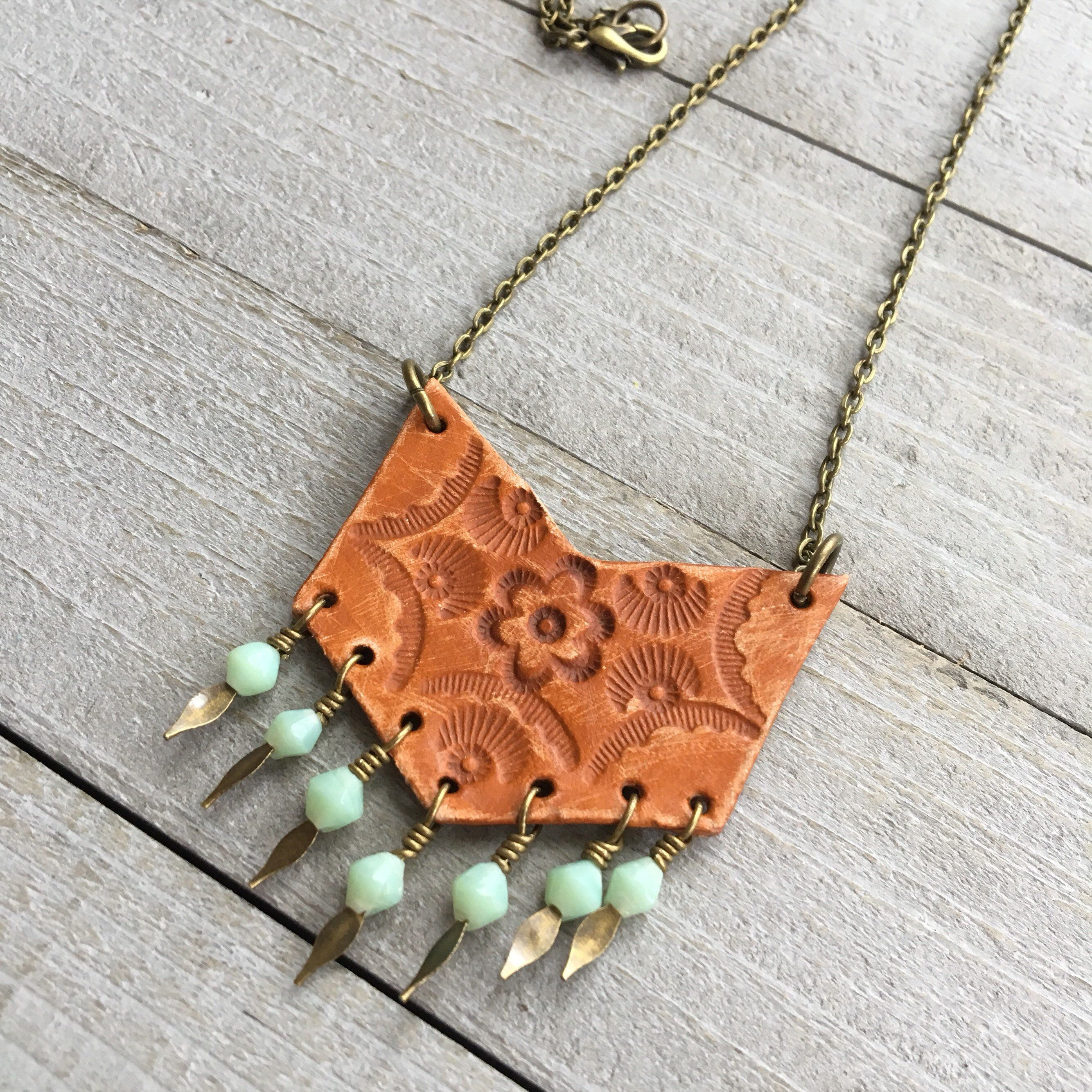 Photo of Boho Chevron Necklace – Tooled Leather on 16″ Chain with Vintage Glass Beads – Southwestern Inspired Bohemian Jewelry