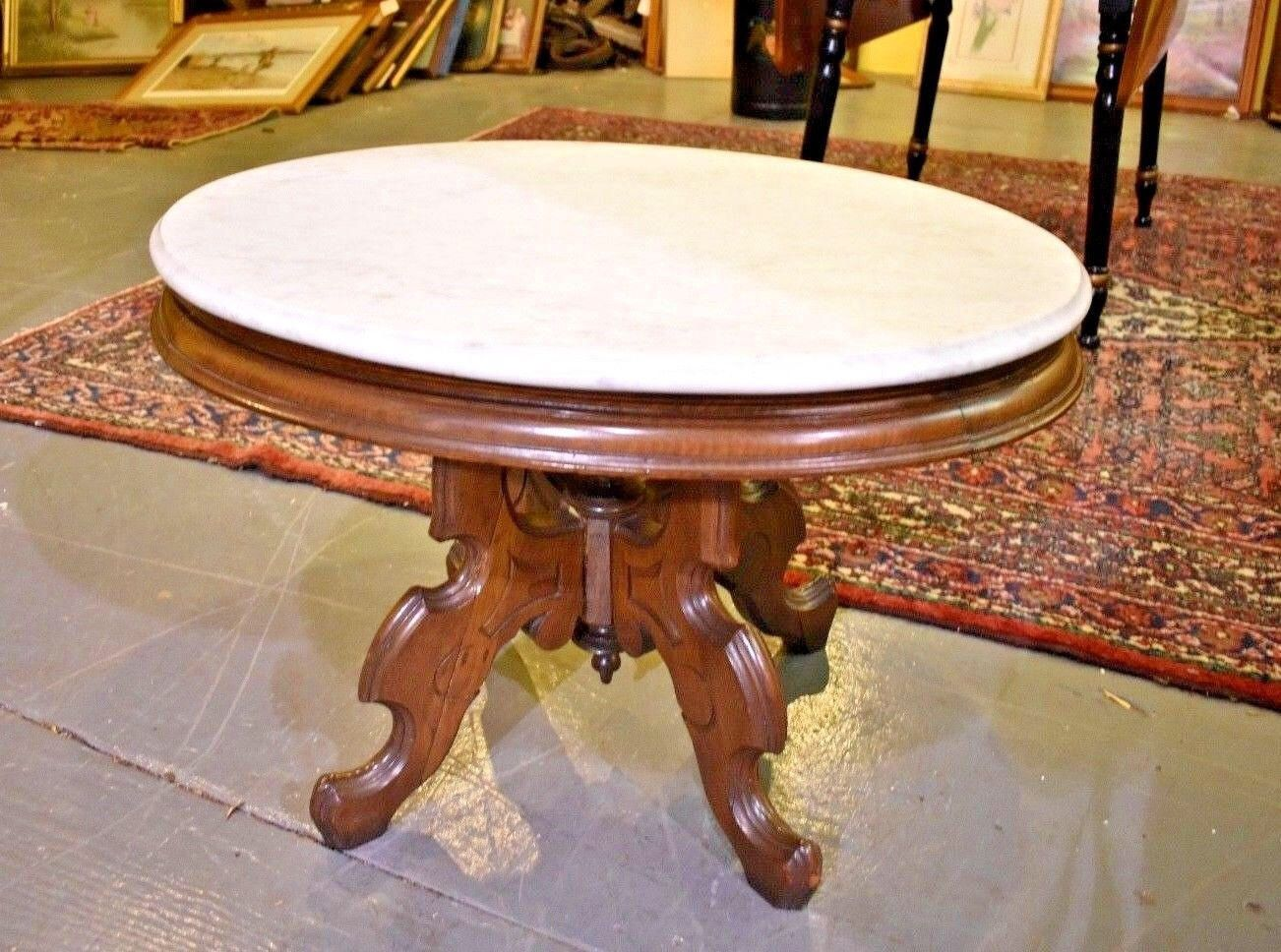 ... Style Antique Vintage Coffee Table by TheGreenSceneAntique on Etsy  https://www.etsy.com/listing/559420544/oval-marble-top-eastlake-style- antique - Oval Marble Top Eastlake Style Antique Vintage Coffee Table By
