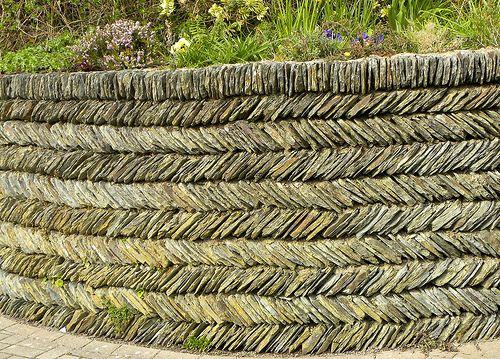 Garden Herringbone Slate wall, Mortehoe, Devon