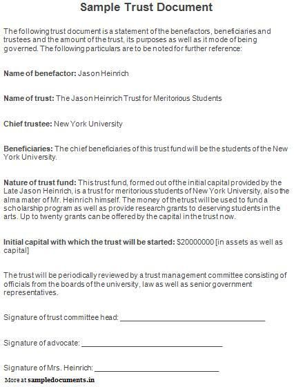 Sample Trust Document Trust Documents Names