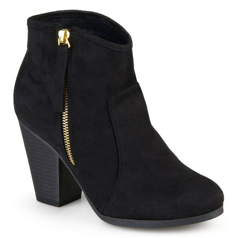 cdf48ba07a80 Journee Collection Womens Link-Wd Booties Stacked Heel Zip Wide Width