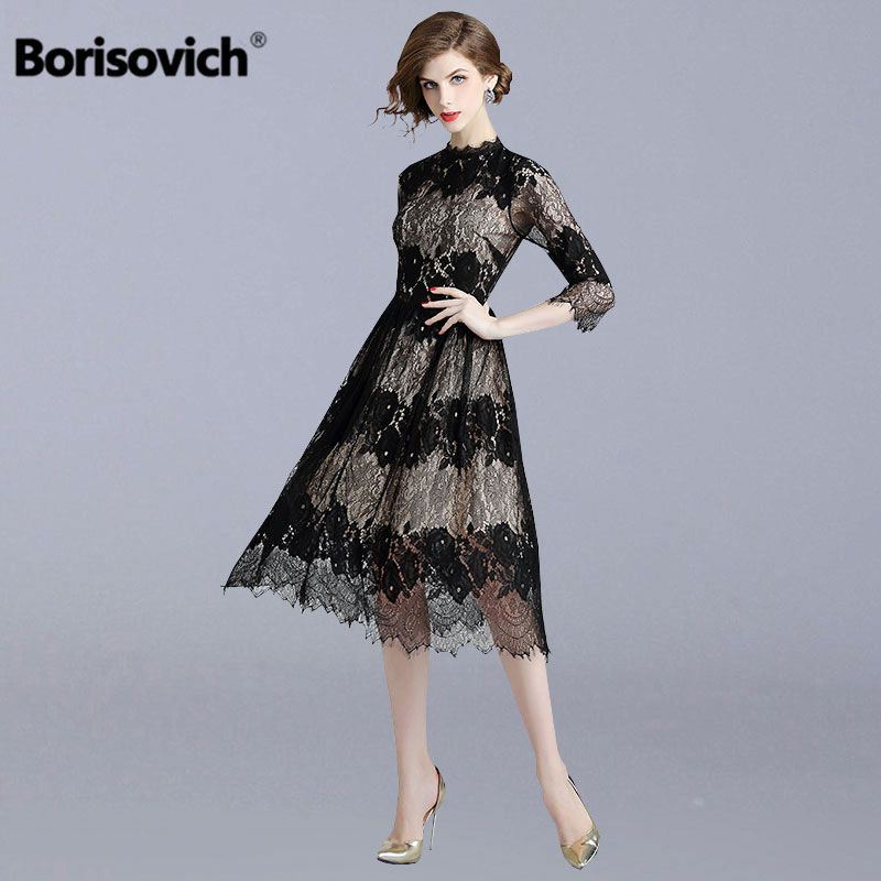 028049a1aca Borisovich Women Casual Lace Dress New Brand 2018 Autumn Fashion England  Style A line Eleagnt Slim Ladies Party Dresses N142-in Dresses from Women s  ...
