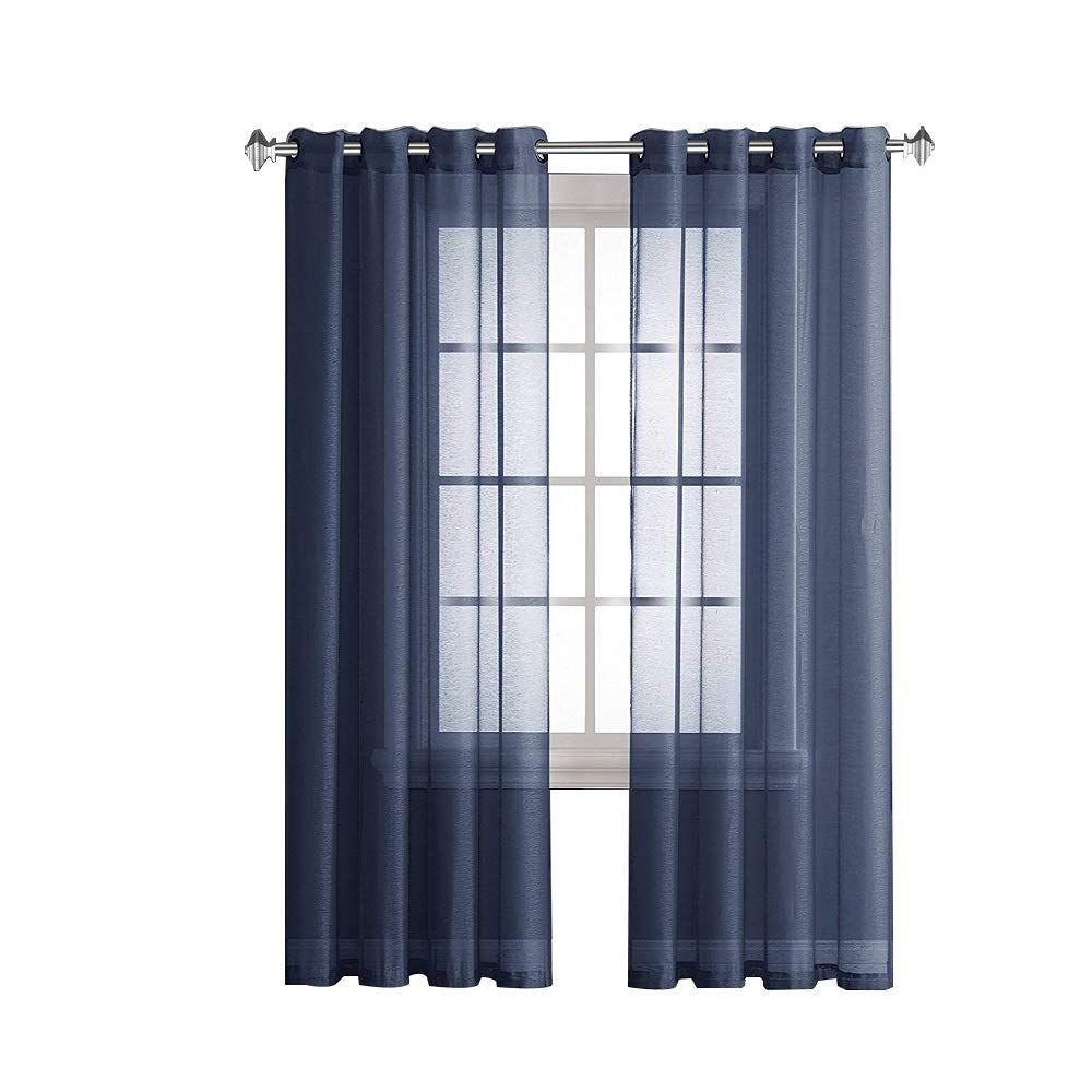 Warm Home Designs Pair Of 2 Longer Size 54 Width X 95 Length Navy Blue Royal Indigo Sheer Window Curtains 2 Elegant Voile P Curtains Voile Panels House Design