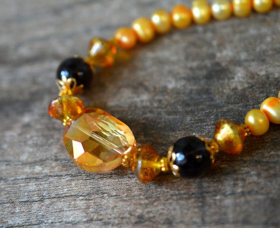 Dark Yellow Cultured Feshwater Pearl Necklace with Amber Glass and Smoky Quartz Beads
