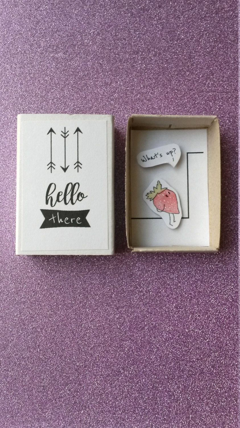 Whats up matchbox card funny greeting card kawaii strawberry funny greeting card hello whats up curious by pinsandpunsco m4hsunfo