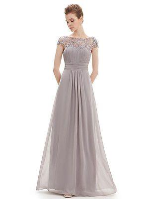 02bfafe19a6 BNWT KATIE Grey Silver Lace Maxi Prom Evening Bridesmaid Ballgown Dress UK  6-18