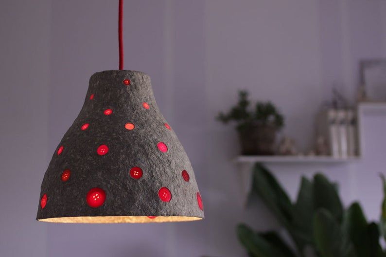 Paper Mache Pendant Light With Red Buttons Recycled Paper Lampshade Paper Pulp Light Buttons Ceiling Lamp Hanging Light Pendant Light Paper Lampshade Pendant Light Set