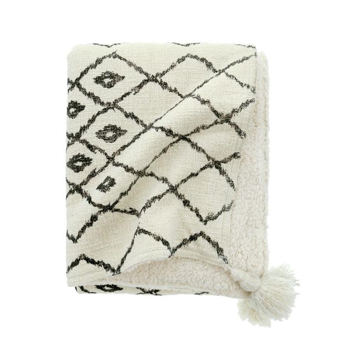 Plaid En Coton Imprimé Avec Pompons Dessus De Lit Plaid