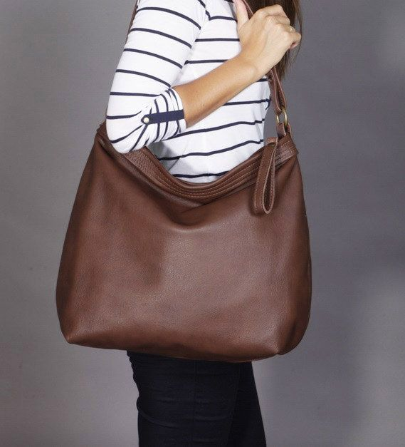 Brown leather hobo bag - Leather purse - Brown leather bag -LARGE ...