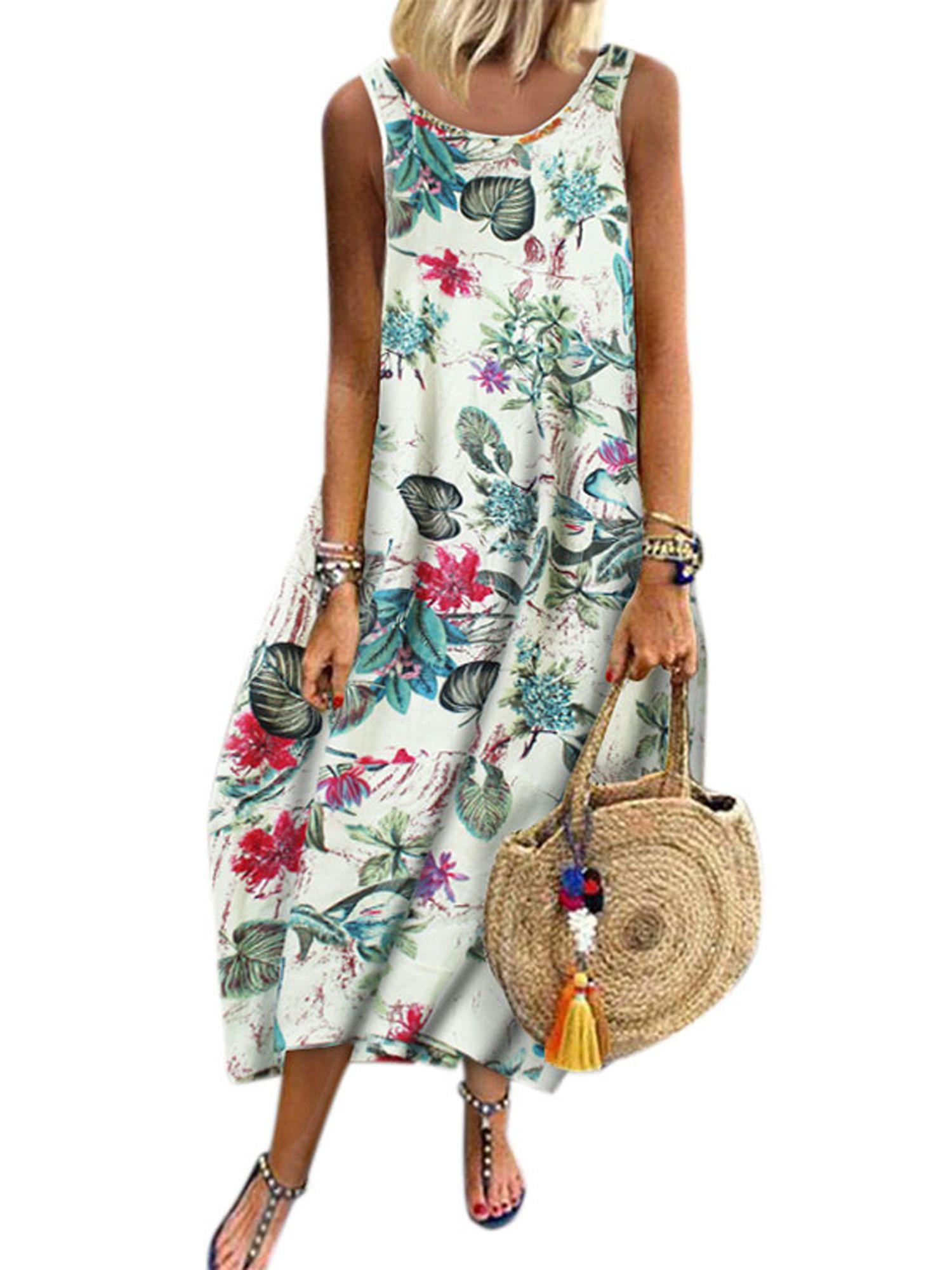 Lallc Women S Plus Size Summer Boho Sleeveless Long Dresses Kaftan Floral Sundress Sleeveless Long Dress Essential Dress Womens Shift Dresses [ 2000 x 1500 Pixel ]