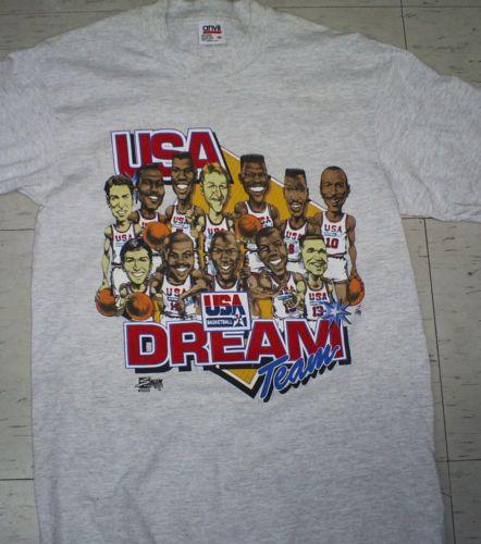 094a6e3e3d85 Vintage-90s-USA-basketball-NBA-Dream-Team-1-Barcelona-Olympic-1992-t-shirt -sz-M