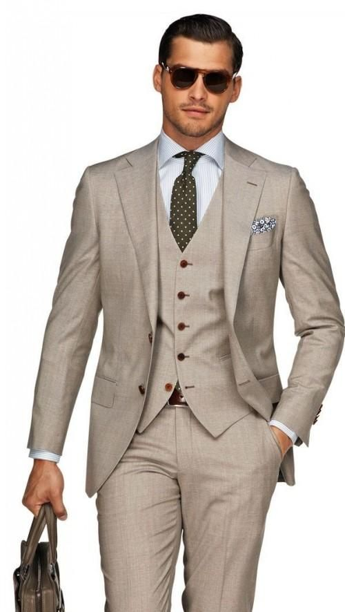 Beach Brown Linen Men Wedding Suits Casual Notched Lapel Grooms Tuxedos Three Piece Slim